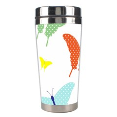 Beautiful Colorful Polka Dot Butterflies Clipart Stainless Steel Travel Tumblers by BangZart