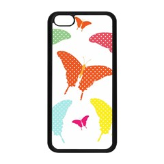 Beautiful Colorful Polka Dot Butterflies Clipart Apple Iphone 5c Seamless Case (black) by BangZart