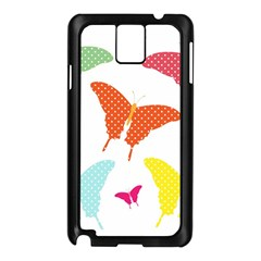 Beautiful Colorful Polka Dot Butterflies Clipart Samsung Galaxy Note 3 N9005 Case (black)