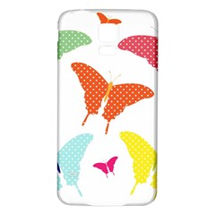 Beautiful Colorful Polka Dot Butterflies Clipart Samsung Galaxy S5 Back Case (white)