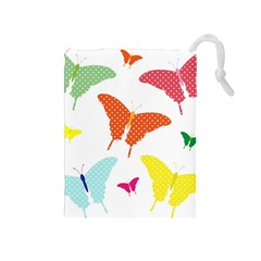 Beautiful Colorful Polka Dot Butterflies Clipart Drawstring Pouches (medium)  by BangZart