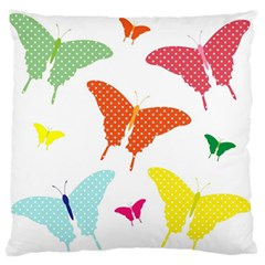 Beautiful Colorful Polka Dot Butterflies Clipart Standard Flano Cushion Case (two Sides) by BangZart