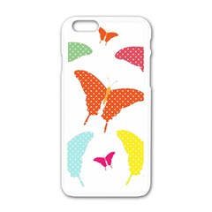 Beautiful Colorful Polka Dot Butterflies Clipart Apple Iphone 6/6s White Enamel Case by BangZart