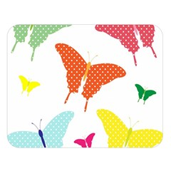 Beautiful Colorful Polka Dot Butterflies Clipart Double Sided Flano Blanket (large)  by BangZart