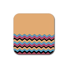 Chevrons Patterns Colorful Stripes Rubber Square Coaster (4 Pack)  by BangZart