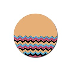 Chevrons Patterns Colorful Stripes Rubber Round Coaster (4 Pack)