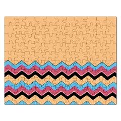 Chevrons Patterns Colorful Stripes Rectangular Jigsaw Puzzl
