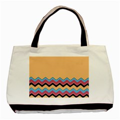 Chevrons Patterns Colorful Stripes Basic Tote Bag (two Sides)
