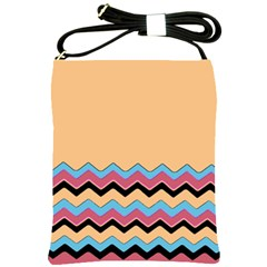 Chevrons Patterns Colorful Stripes Shoulder Sling Bags by BangZart