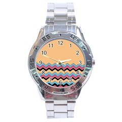 Chevrons Patterns Colorful Stripes Stainless Steel Analogue Watch