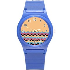 Chevrons Patterns Colorful Stripes Round Plastic Sport Watch (s) by BangZart