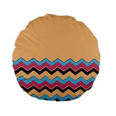 Chevrons Patterns Colorful Stripes Standard 15  Premium Round Cushions