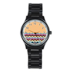 Chevrons Patterns Colorful Stripes Stainless Steel Round Watch