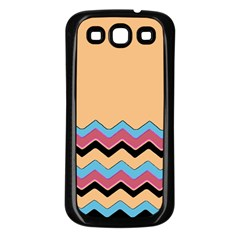 Chevrons Patterns Colorful Stripes Samsung Galaxy S3 Back Case (black)