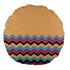 Chevrons Patterns Colorful Stripes Large 18  Premium Flano Round Cushions by BangZart
