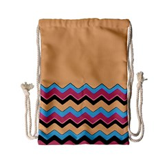 Chevrons Patterns Colorful Stripes Drawstring Bag (small)