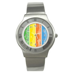 Floral Colorful Seasonal Banners Stainless Steel Watch by BangZart