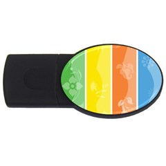 Floral Colorful Seasonal Banners Usb Flash Drive Oval (4 Gb)
