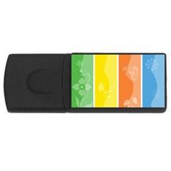 Floral Colorful Seasonal Banners Usb Flash Drive Rectangular (4 Gb) by BangZart