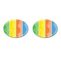 Floral Colorful Seasonal Banners Cufflinks (oval) by BangZart