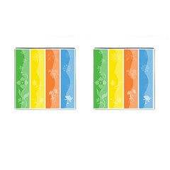 Floral Colorful Seasonal Banners Cufflinks (square) by BangZart