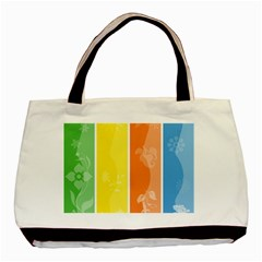 Floral Colorful Seasonal Banners Basic Tote Bag by BangZart