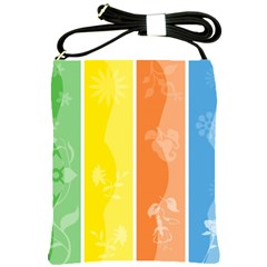 Floral Colorful Seasonal Banners Shoulder Sling Bags by BangZart