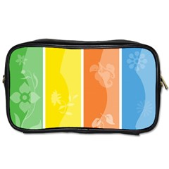 Floral Colorful Seasonal Banners Toiletries Bags by BangZart