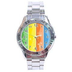 Floral Colorful Seasonal Banners Stainless Steel Analogue Watch by BangZart