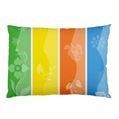 Floral Colorful Seasonal Banners Pillow Case (two Sides)