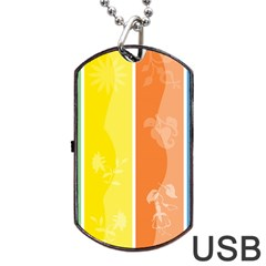 Floral Colorful Seasonal Banners Dog Tag Usb Flash (one Side)