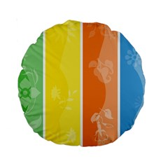 Floral Colorful Seasonal Banners Standard 15  Premium Round Cushions by BangZart