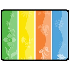 Floral Colorful Seasonal Banners Double Sided Fleece Blanket (large)