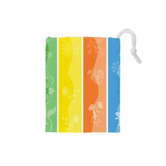 Floral Colorful Seasonal Banners Drawstring Pouches (small)