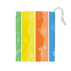 Floral Colorful Seasonal Banners Drawstring Pouches (large)  by BangZart