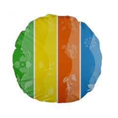 Floral Colorful Seasonal Banners Standard 15  Premium Flano Round Cushions by BangZart