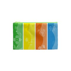 Floral Colorful Seasonal Banners Cosmetic Bag (xs)