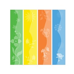 Floral Colorful Seasonal Banners Small Satin Scarf (square)