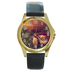 Tropical Style Collage Design Poster Round Gold Metal Watch by dflcprints