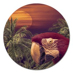 Tropical Style Collage Design Poster Magnet 5  (round) by dflcprints