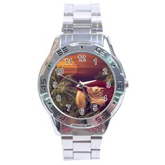 Tropical Style Collage Design Poster Stainless Steel Analogue Watch by dflcprints