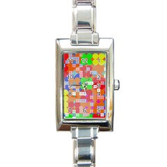 Abstract Polka Dot Pattern Rectangle Italian Charm Watch