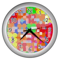 Abstract Polka Dot Pattern Wall Clocks (silver)  by BangZart