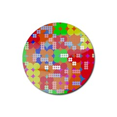 Abstract Polka Dot Pattern Rubber Coaster (round)  by BangZart
