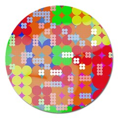 Abstract Polka Dot Pattern Magnet 5  (round)