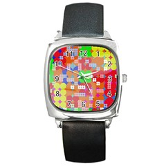 Abstract Polka Dot Pattern Square Metal Watch