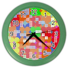 Abstract Polka Dot Pattern Color Wall Clocks by BangZart