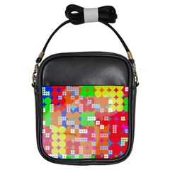 Abstract Polka Dot Pattern Girls Sling Bags by BangZart