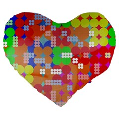 Abstract Polka Dot Pattern Large 19  Premium Heart Shape Cushions by BangZart