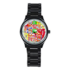 Abstract Polka Dot Pattern Stainless Steel Round Watch